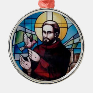 St Francis Stained Glass Image with Dove Christmas Tree Ornament