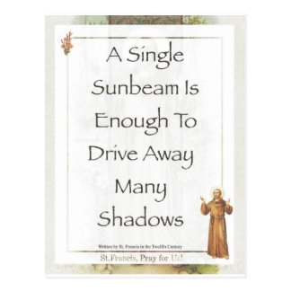 st. francis sunbeam prayer postcard