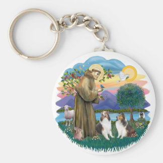 St Francis (W) - 2 Shelties (D&L) Basic Round Button Keychain
