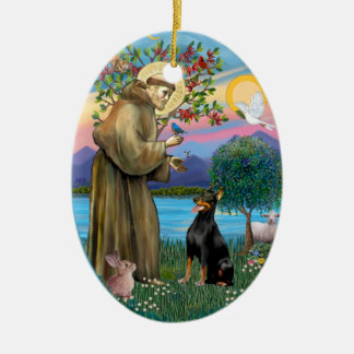 St Francis (W) - Doberman Pinscher 1 Christmas Ornaments