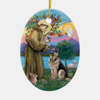 St Francis W - German Shepherd C Christmas Tree Ornaments