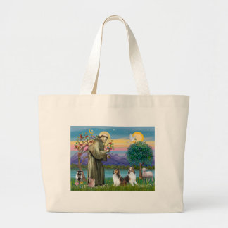 St Francis (W) - Two Shelties (D&L) Large Tote Bag