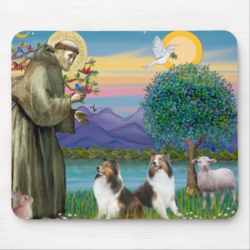 St Francis (W) - Two Shelties (D&L) Mouse Pad