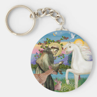 St Francis - White Arabian Horse Keychain