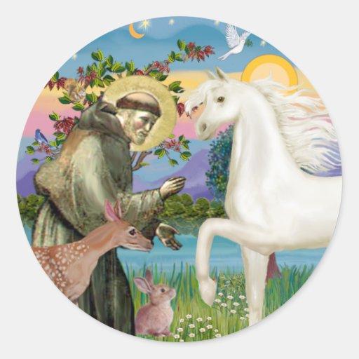 St Francis - White Arabian Horse Stickers