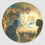 St Francis with Baby Jesus Christmas Gift Nativity Round Stickers
