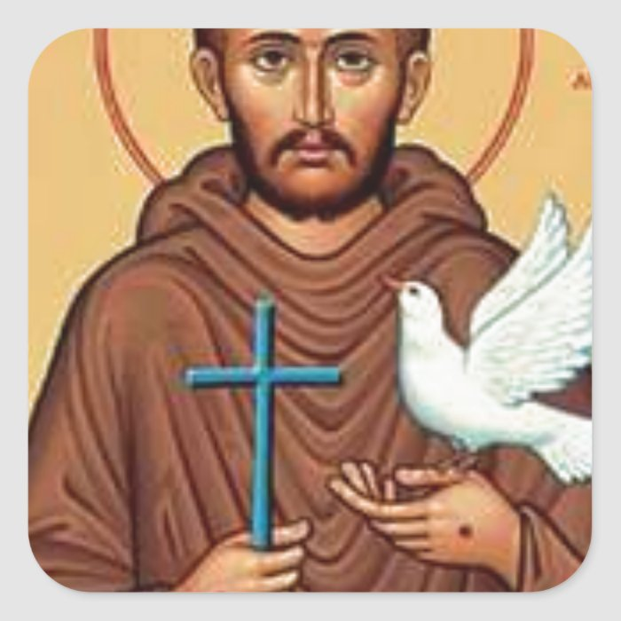 St. Francis with Dove Square Sticker