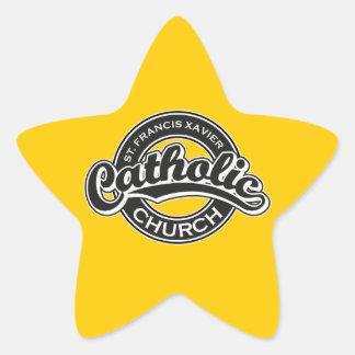 St. Francis Xavier Catholic Church Black White Star Sticker