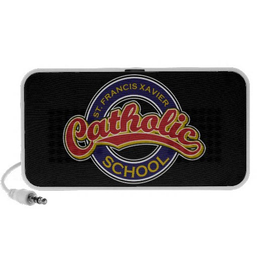 St. Francis Xavier Catholic School Red on Blue Laptop Speakers