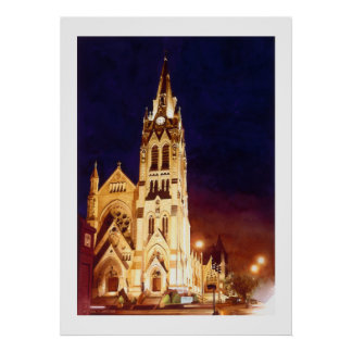 """St. Francis Xavier"" Church St. Louis Watercolor Poster"