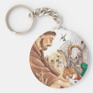 St Francis y animales, gorra, perno, llavero, etiq Llavero Redondo Tipo Pin