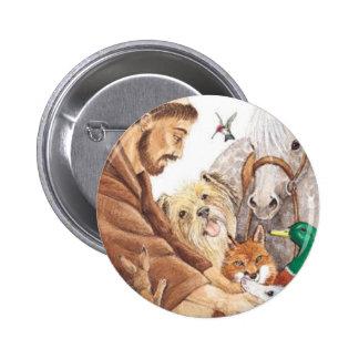 St Francis y animales, gorra, perno, llavero, etiq Pin