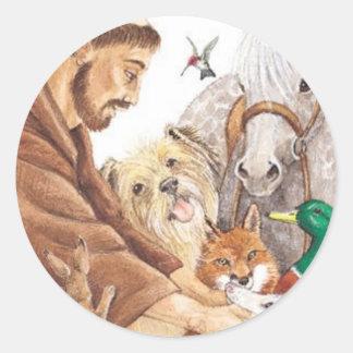 St Francis y animales, gorra, perno, llavero, Pegatina Redonda