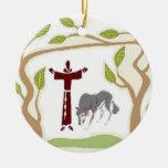 St Francis y el lazo del lobo, la caja de regalo, Ornaments Para Arbol De Navidad