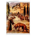 St Francis y el lobo Felicitacion