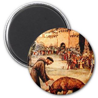 St Francis y el lobo Imán Redondo 5 Cm