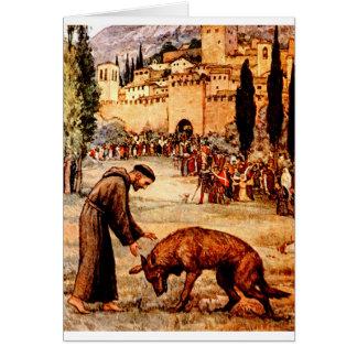 St Francis y el lobo Tarjeta De Felicitación