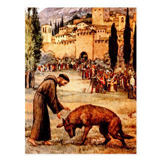 St Francis y el lobo Postal