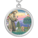 St Francis - Yorkshire Terrier #7 Round Pendant Necklace