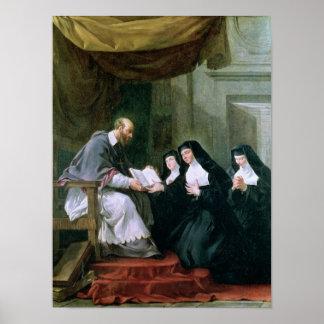 St. Francois de Sales Giving la regla Poster