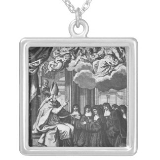 St. Francois de Salles  Giving the Rule Silver Plated Necklace