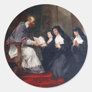 St. Francoise con St. Jean Etiqueta Redonda