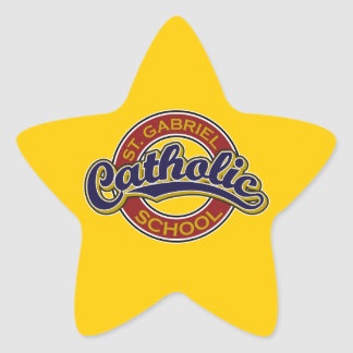 St. Gabriel Catholic School Blue on Red Star Sticker