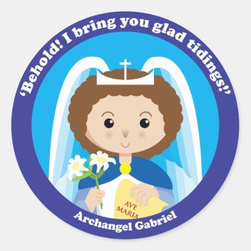 St Gabriel el arcángel Etiqueta Redonda