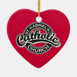 St. Gabriel's Catholic Church Black and White Double-Sided Heart Ceramic Christmas Ornament