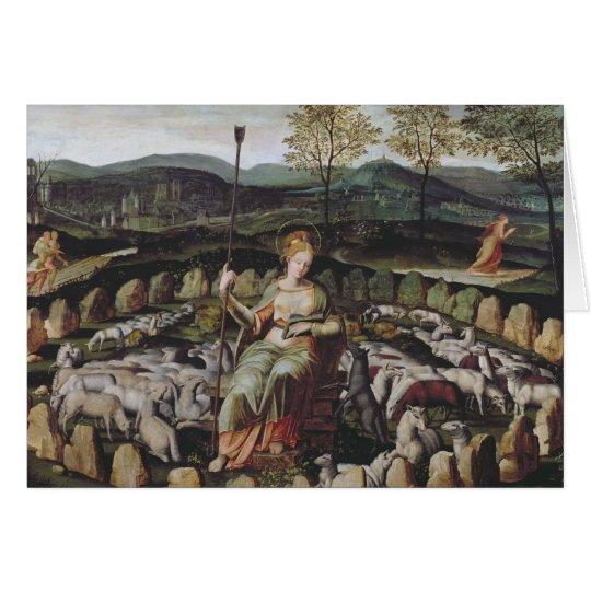 St. Genevieve Guarding her Flock Card