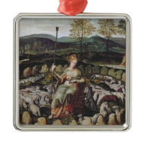 St. Genevieve Guarding her Flock Metal Ornament