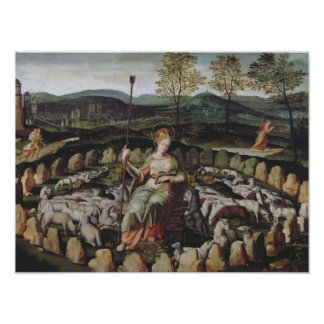 St. Genevieve Guarding her Flock Poster