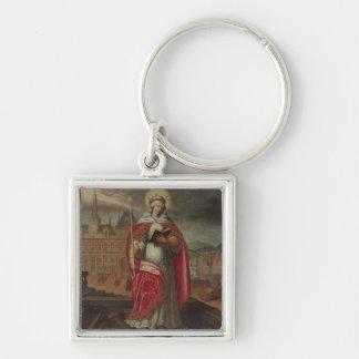 St. Genevieve Llavero Cuadrado Plateado
