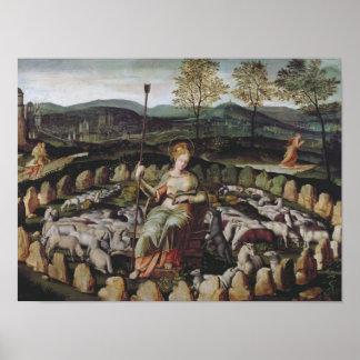 St. Genevieve que guarda a su multitud Póster