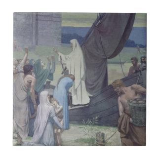 St. Genevieve que trae fuentes Azulejo Cuadrado Pequeño