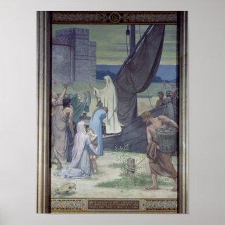 St. Genevieve que trae fuentes Póster