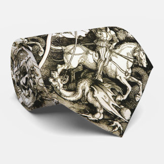 ST. GEORGE AND DRAGON , Black White Neck Tie