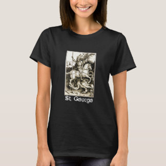 ST. GEORGE AND DRAGON , Black White T-Shirt