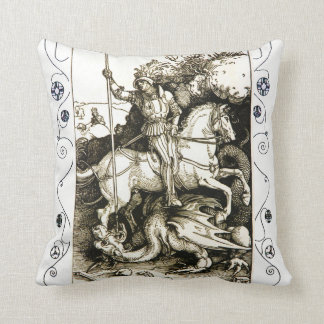 ST. GEORGE AND DRAGON , Black White Throw Pillow