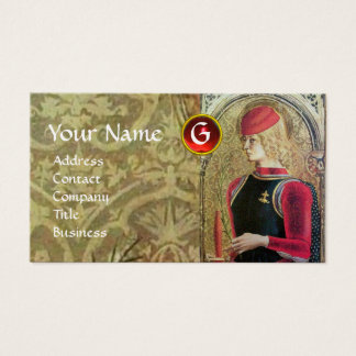 ST.GEORGE AND DRAGON Red Ruby Monogram,Gold Damask Business Card