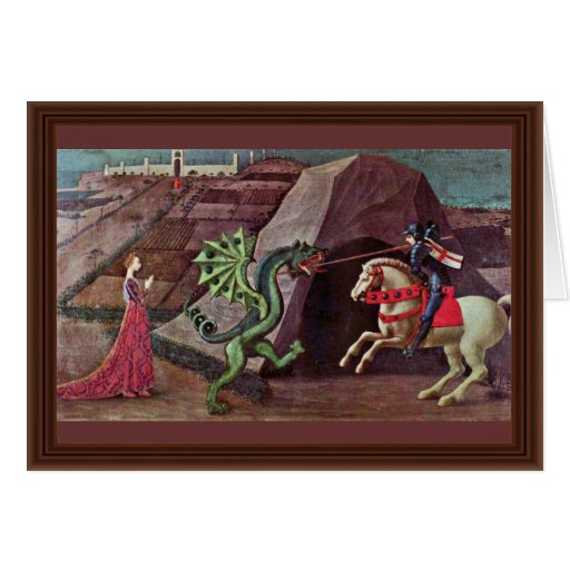 St. George And The Dragon By Uccello Paolo Greeting Card