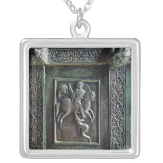 St. George and the Dragon Square Pendant Necklace