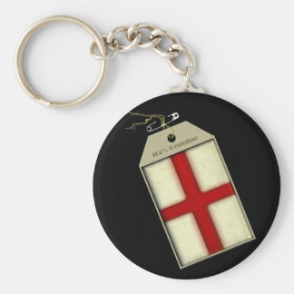 St George Cross Label Basic Round Button Keychain