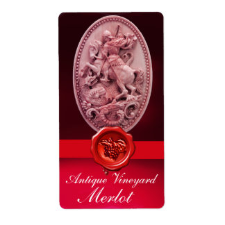 ST.GEORGE,DRAGON AND RED WAX SEAL WITH GRAPES Wine Label