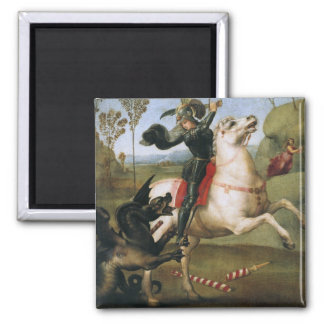 St. George Fighting Dragon Raphael Fine Art 2 Inch Square Magnet
