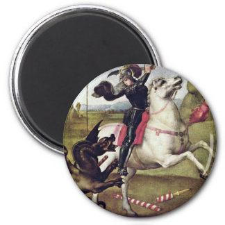 St. George Fighting The Dragon By Raffael 2 Inch Round Magnet