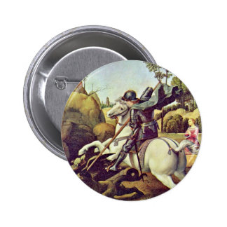 St. George Fighting The Dragon By Raffael Pinback Button