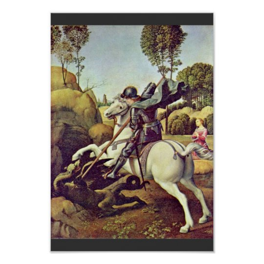 St. George Fighting The Dragon By Raffael Poster