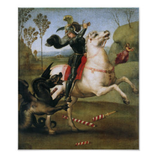 St George Fighting the Dragon Raphael Posters