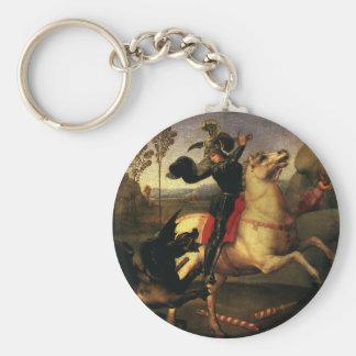 St. George Fighting the Dragon, Raphael, Raffaello Basic Round Button Keychain